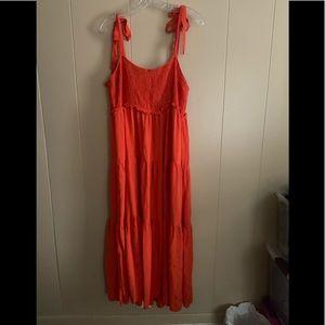 Xxl  Zara bright red smocked maxi dress
